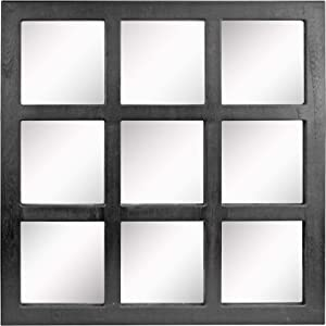 "Stonebriar Square Rustic 9 Panel Window Pane Wall Mirror with Black Painted Wood Finish and Attached Mounting Brackets, 23.5"" x 23.5"""
