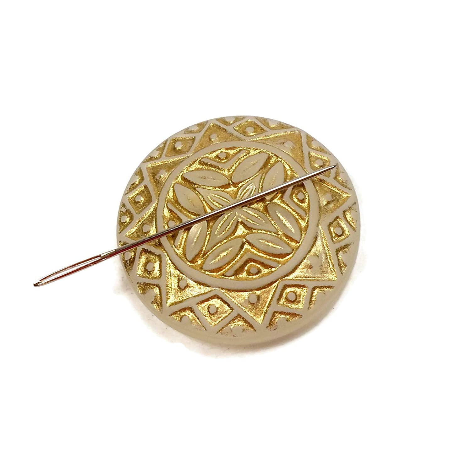 Gold and Clear Round Geometric Patterned Acrylic Needle Minder