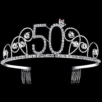 Amazon.com   BABEYOND Crystal Tiara Birthday Crown Princess Crown Hair  Accessories Silver Diamante Happy 50th Birthday (50 Birth)   Beauty 3d6f0269e561