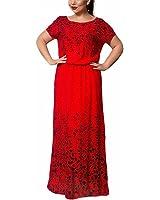 Venetia Morton Bohemian O-neck Patchwork Dress Vintage Half Sleeve Plus Size Orange XXXL