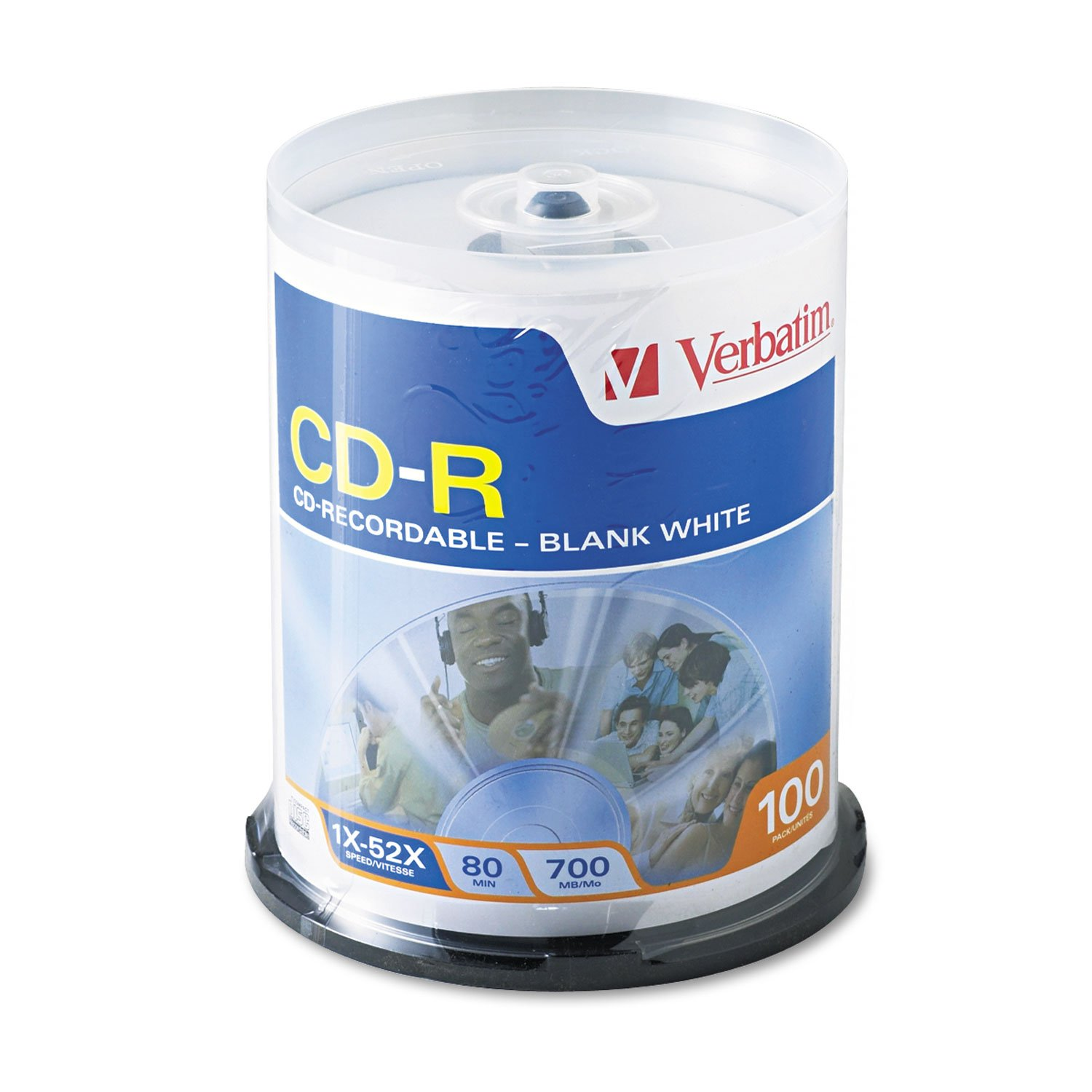 Verbatim 100/Pk 700MB 52x Write-Once CD-R With Non-Printable White Surface