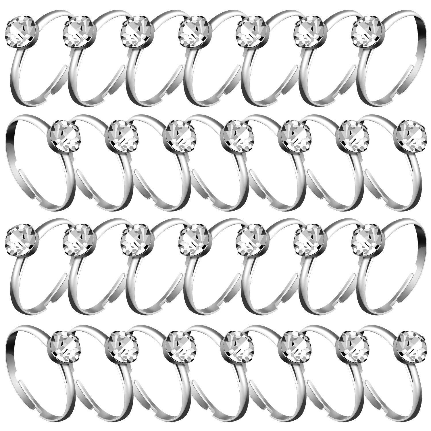 Whaline 72 Pcs Silver Diamond Engagement Rings for Wedding Table Decorations, Party Supply, Favor Accents, Cupcake Toppers
