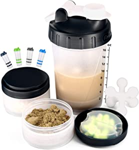 16 OZ Protein Shaker Bottle with Mixer Ball and 2 Interlocking Storage Jars for Pills, Snacks, Coffee, Tea. 100% BPA-Free, Non Toxic and Leak Proof Sports Bottle