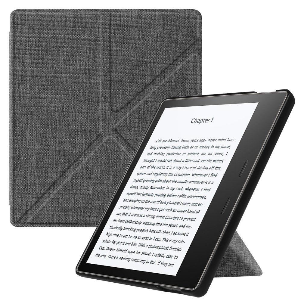 Fintie Origami Case for Kindle Oasis (9th Gen, 2017 Release ONLY) - Slim Fit Stand Cover Support [Hands Free] Reading with Auto Wake / Sleep for Amazon All-New 7'' Kindle Oasis, Denim Charcoal