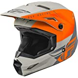 FLY Racing Kinetic Straight Edge Helmet, Full-Face Helmet for Motocross, Off-road, ATV, UTV, Bicycle and More MATTE ORANGE/GR