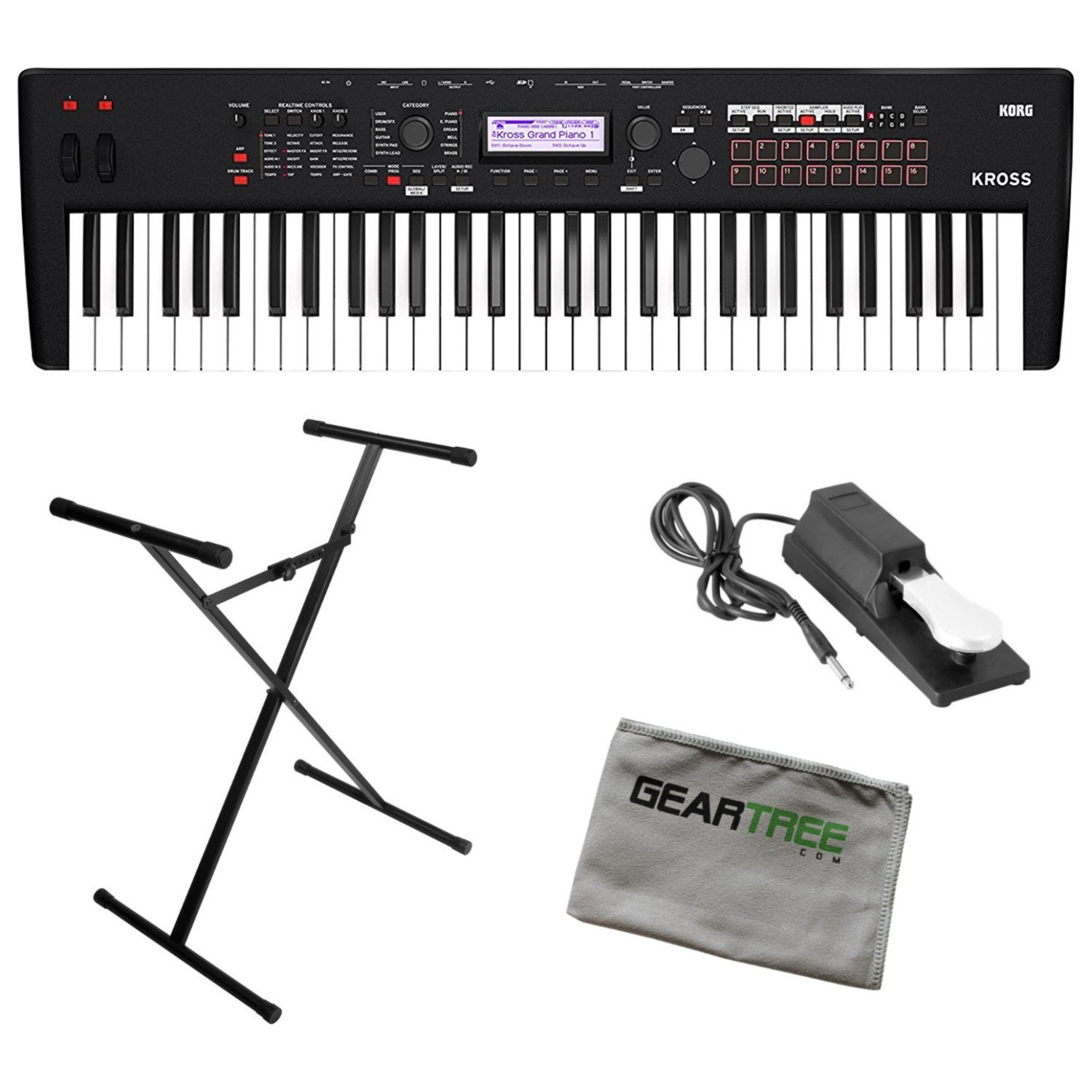 Korg KROSS261MB Synthesizer 61 Note Matte Black w/Stand, Sustain Pedal, and Gea by Korg