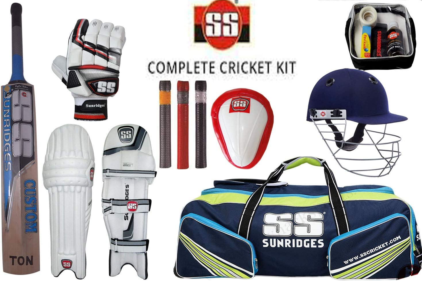 Cricket Kit Harrow complete set Bat ball pads gloves helmet legguard pad box bag