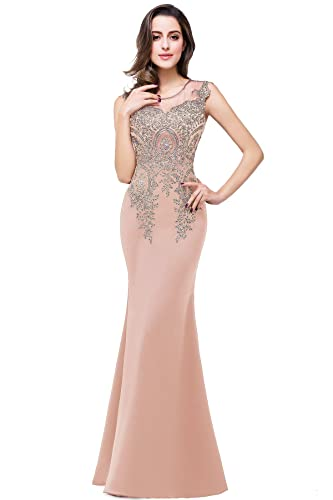 Babyonline Sheer Round Neck Lace Applique Mermaid Evening Dresses PXWCPS250