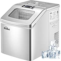 Kealive Ice Maker Machine Countertop 40lbs/24H, 24 Ice Cubes (Clear Square) Ready in 15 Minutes, Portable Compact Ice…