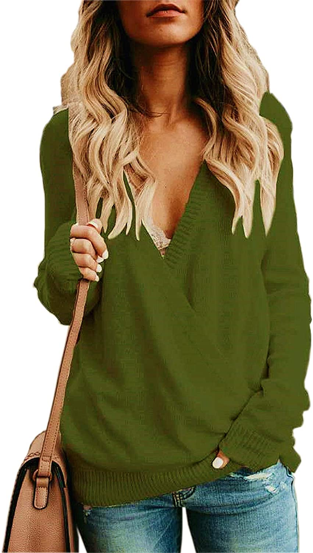 Jeazi Womens Wrap Deep V Neck Sweater Knitted Long Sleeve