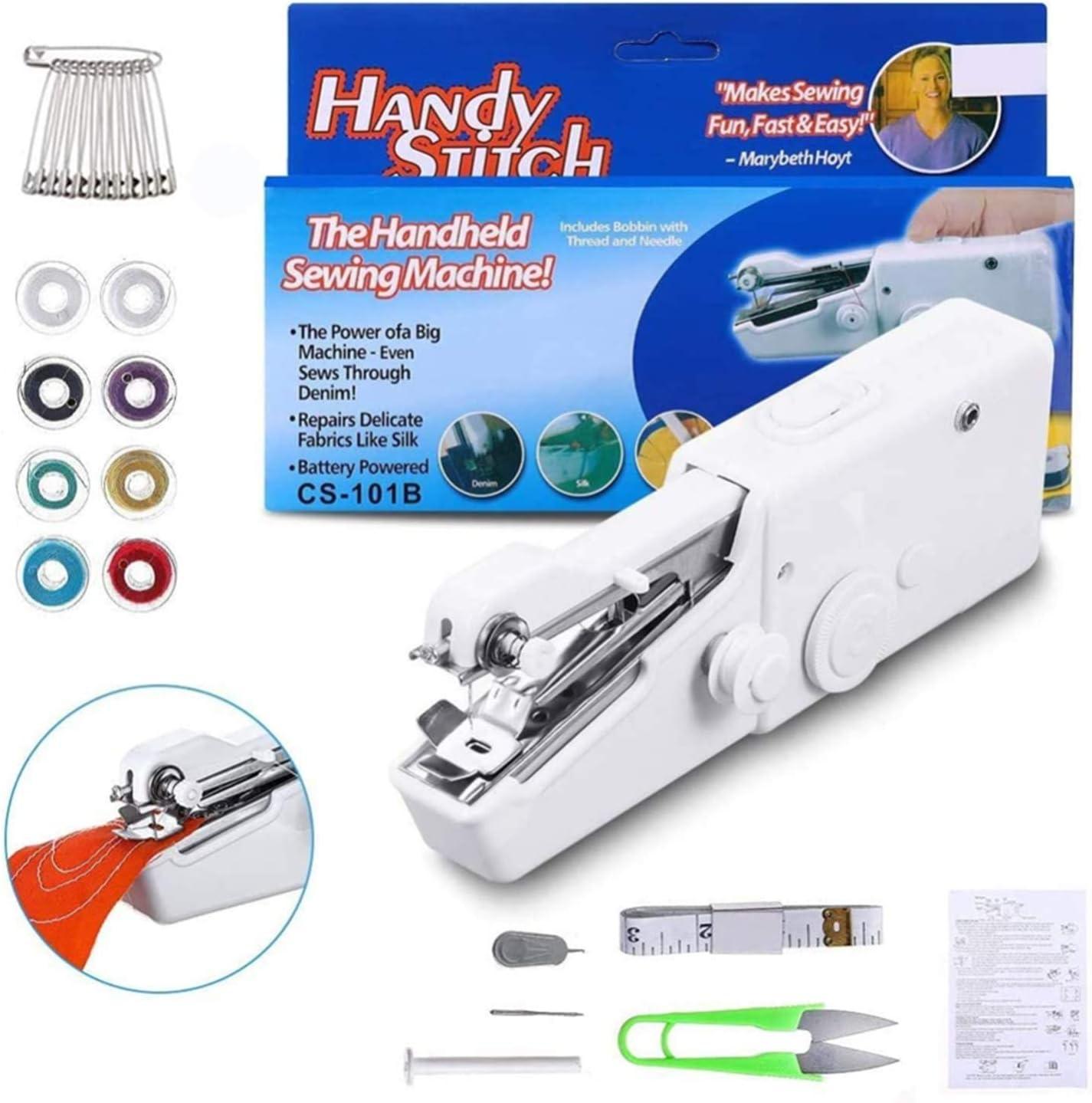 Máquina de coser de mano, Jsdoin Mini máquina de coser portátil, mini máquina de coser inalámbrica de reparación rápida para ropa, Denim, cortinas, cuero y bricolaje