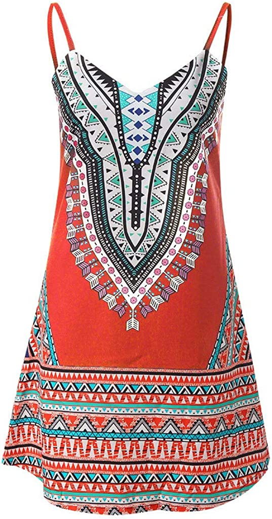 Women Dresses,Chanyuhui Ladies Teen Girls Bohemian Color Block A Line African Sleeveless Beachwear Mini Dress
