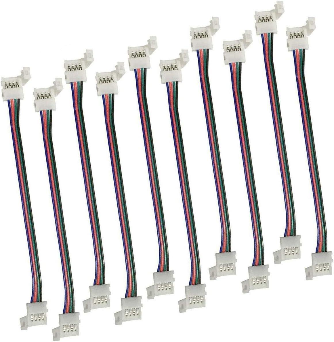 LitaElek 4 Pines Conector de Tira LED RGB 5050 Cable de extensión de luz de Cinta LED Conector de Esquina de LED Strip para Tira LED SMD 5050 RGB de 10mm de Ancho Impermeable y no Impermeable (10pcs)