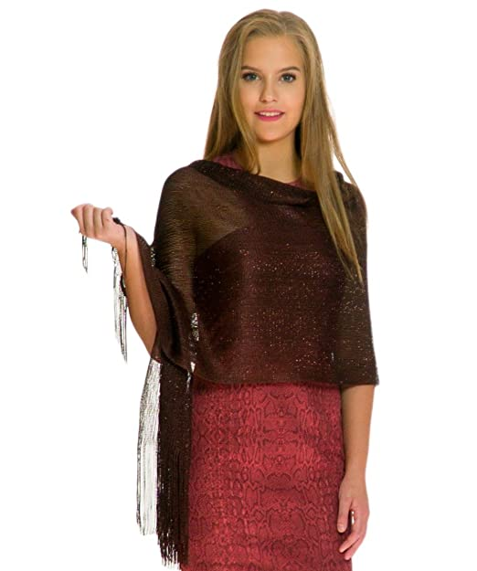 bd09af0585 Shawls and Wraps for Evening Dresses, Wedding Shawl Wrap Fringes Scarf for  Women Brown