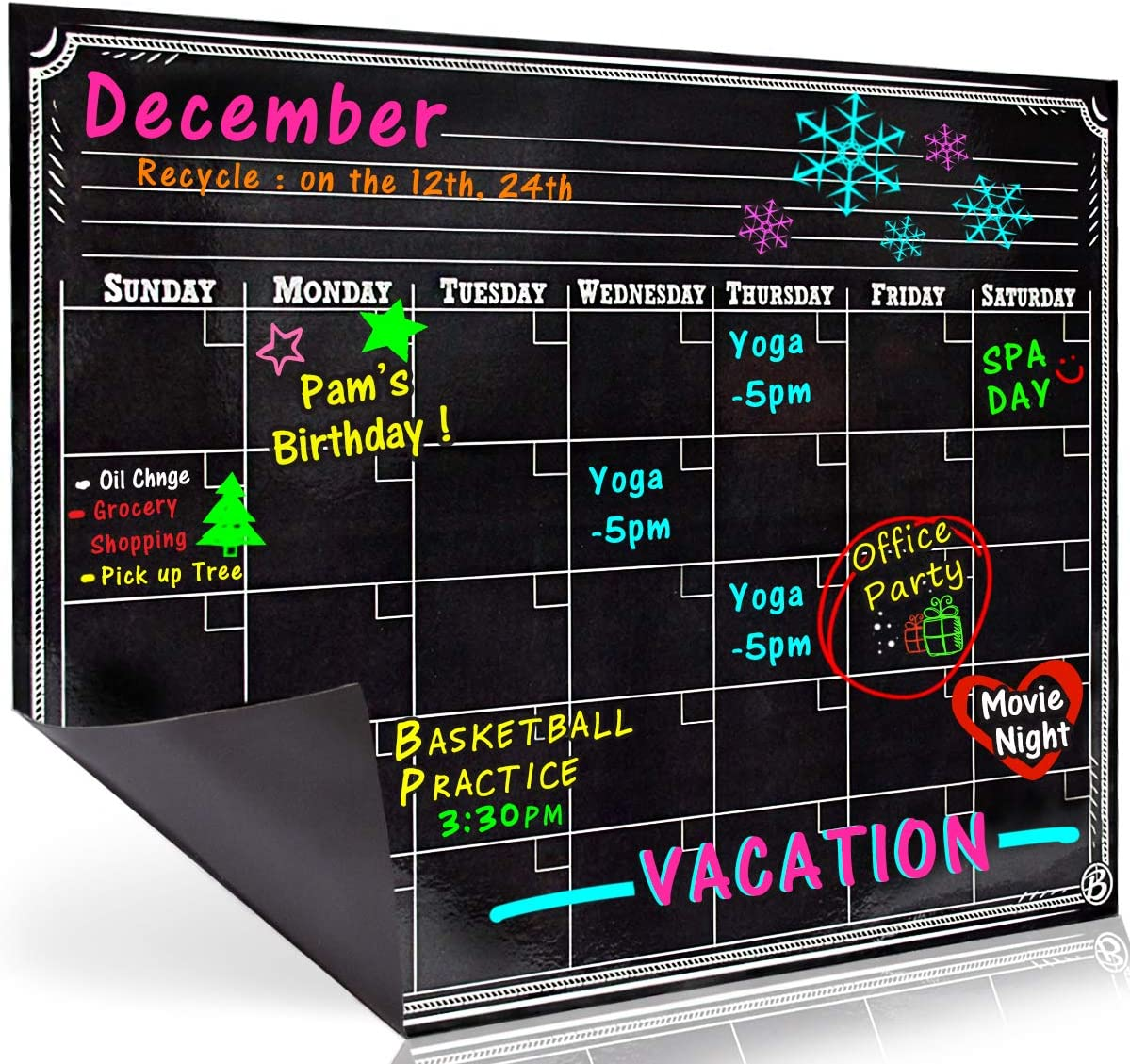 Bigtime Signs Dry Erase Magnetic Refrigerator Calendar Board - Black Chalkboard Look Printed Design - Monthly for Kitchen Fridge| 12 inch x 16 inch - Use with Wet Wipe Fluorescent or Neon Markers