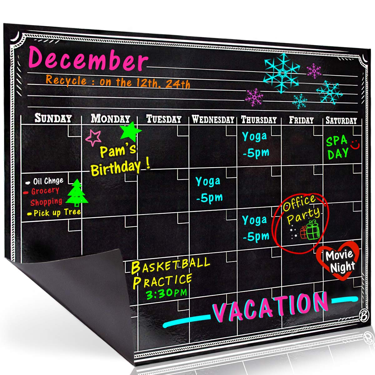 Bigtime Signs Dry Erase Magnetic Refrigerator Calendar Board - Black Chalkboard Look Printed Design - Monthly for Kitchen Fridge| 12 inch x 16 inch - Use with Wet Wipe Fluorescent or Neon Markers by Bigtime Signs