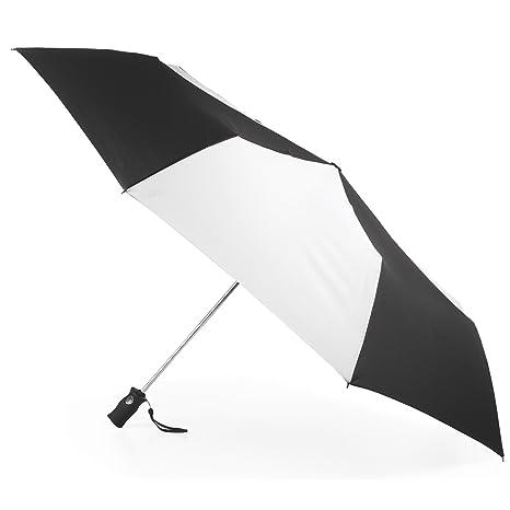 Totes puerto Golf tamaño automático compacto paraguas, negro/blanco (Blanco) - 7102