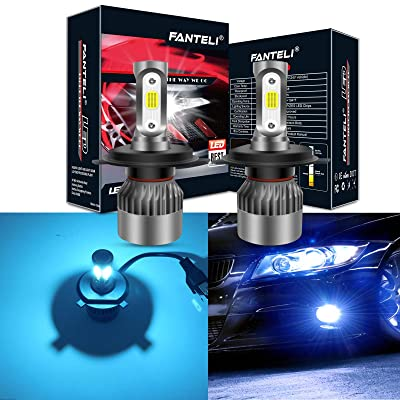 FANTELI H4/9003/HB2 8000K Ice Blue 3-Sided LED Headlight Bulbs All-in-One Conversion Kit - 72W 8000lm Dual Hi/Lo Beam Extremely Bright: Automotive