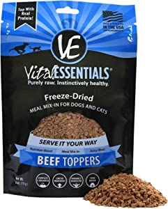 Vital Essentials Freeze Dried Beef Topper - Meal Mixer for Dogs Or Cats - 100% USA All Natural - All Breeds - Grain Free - 6 oz