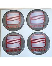 Adhesivos de resina tapacubos para Seat, color gris, de 60 mm. Calidad 3M