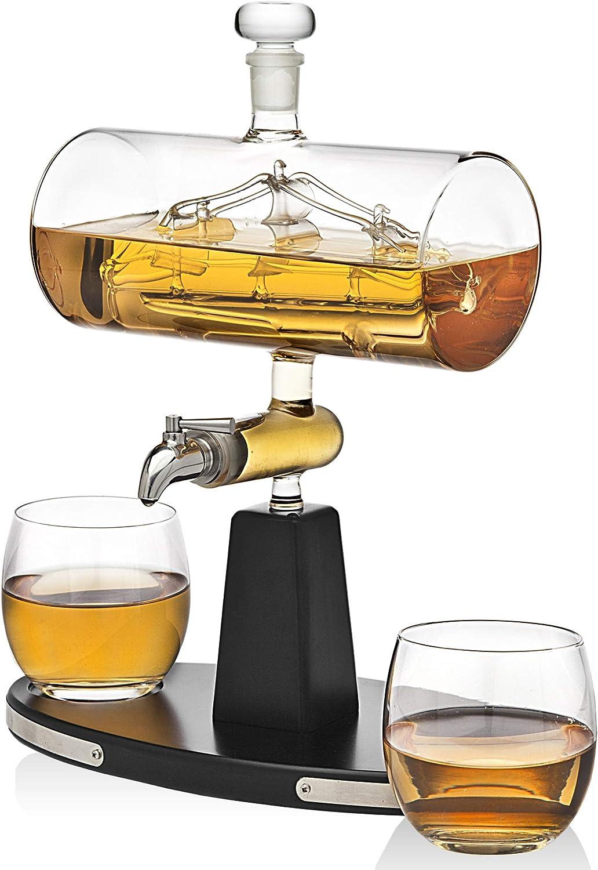 Godinger Whiskey Decanter Dispenser with 2 Whisky Tumbler Glasses - for Liquor, Scotch, Bourbon, Vodka