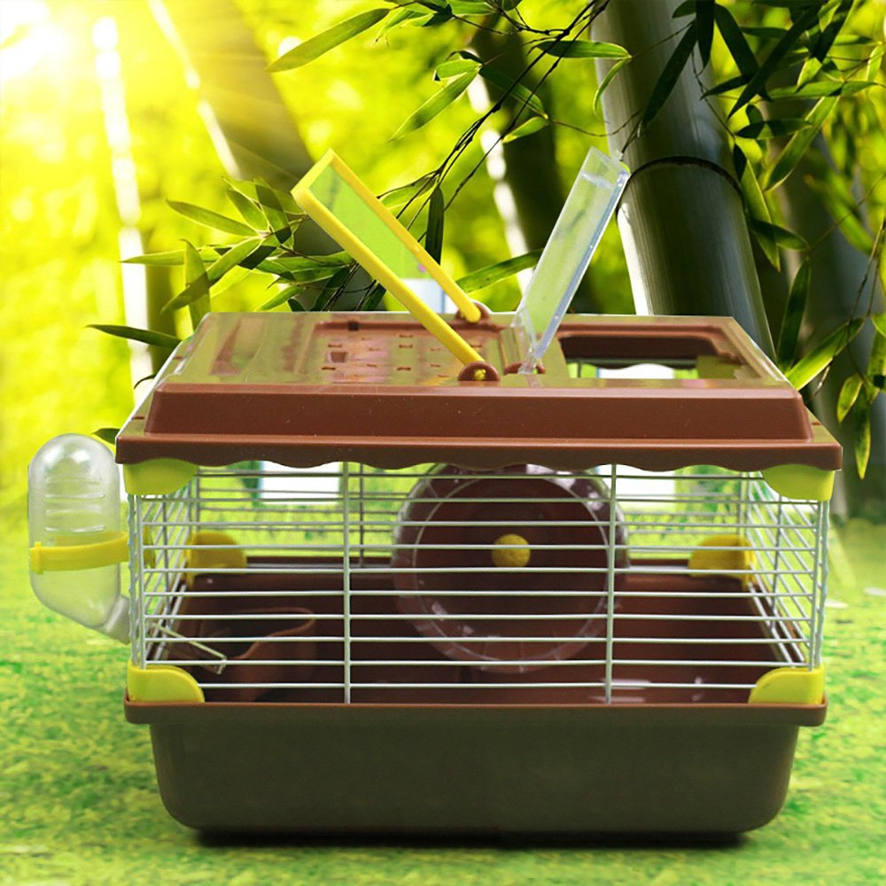 Pevor Portable Pet Hamster Cage Habitat House - Travel Carrier Feeding Bowl with Running Wheel Toys Small Animals House For Hamster Dwarf Syrian Gerbil Mouse Rat (Coffee)