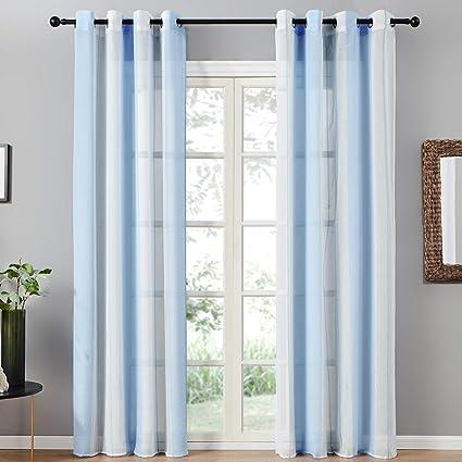 Topfinel 2er Set Transparent Blau Weiß Streifen Voile Gardinen Mit ösen Dekoration Vorhänge Für Kinderzimmer140x260cm