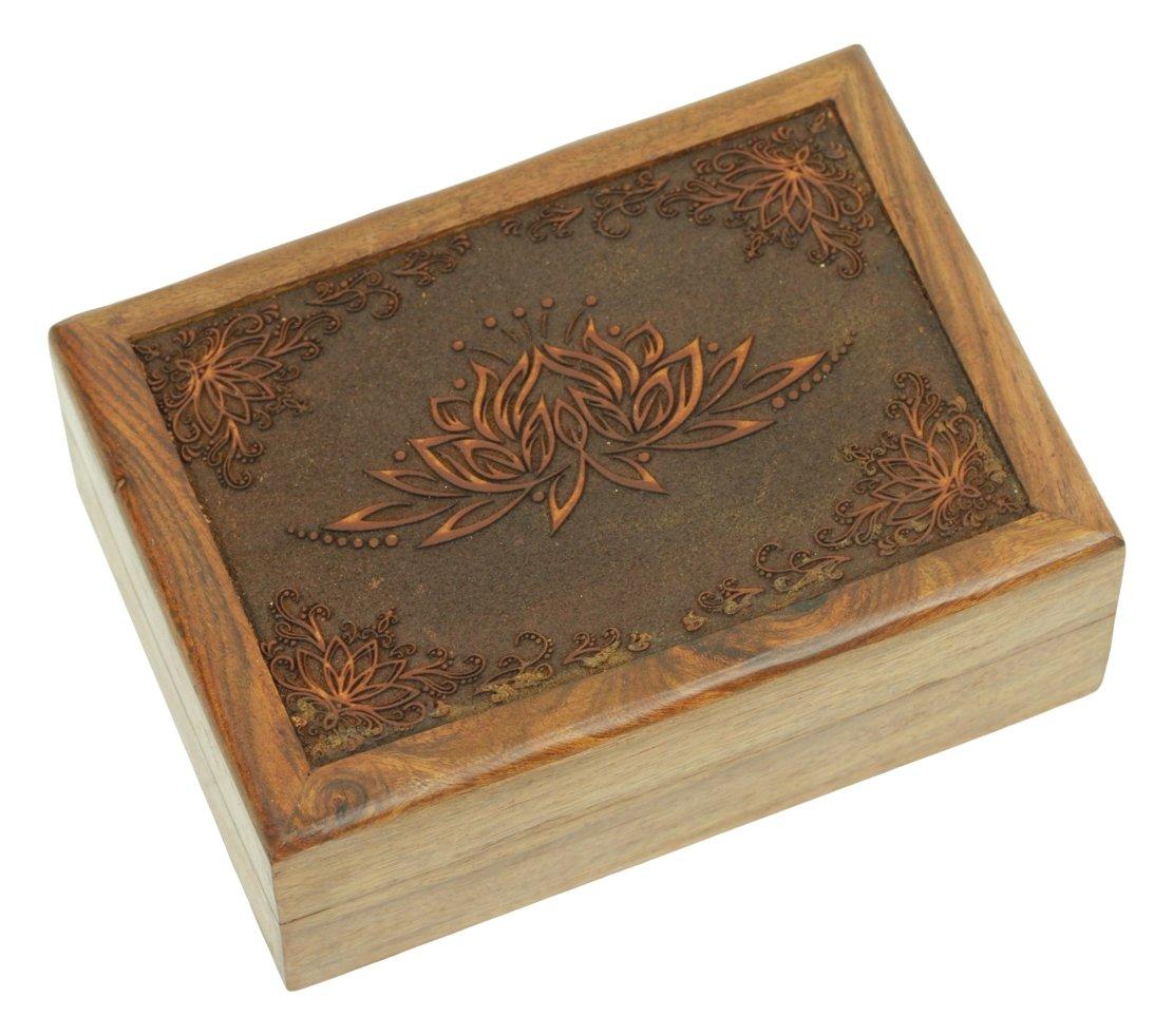 Find Something Different Trovare Qualcosa di Diverso inciso Indiano Legno Scatola Tarocchi, Fiore di Loto, bambù 917621