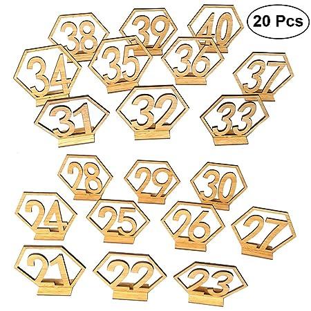BESTOYARD 20 Piezas 21 - 40 DE Madera para Boda Números de ...