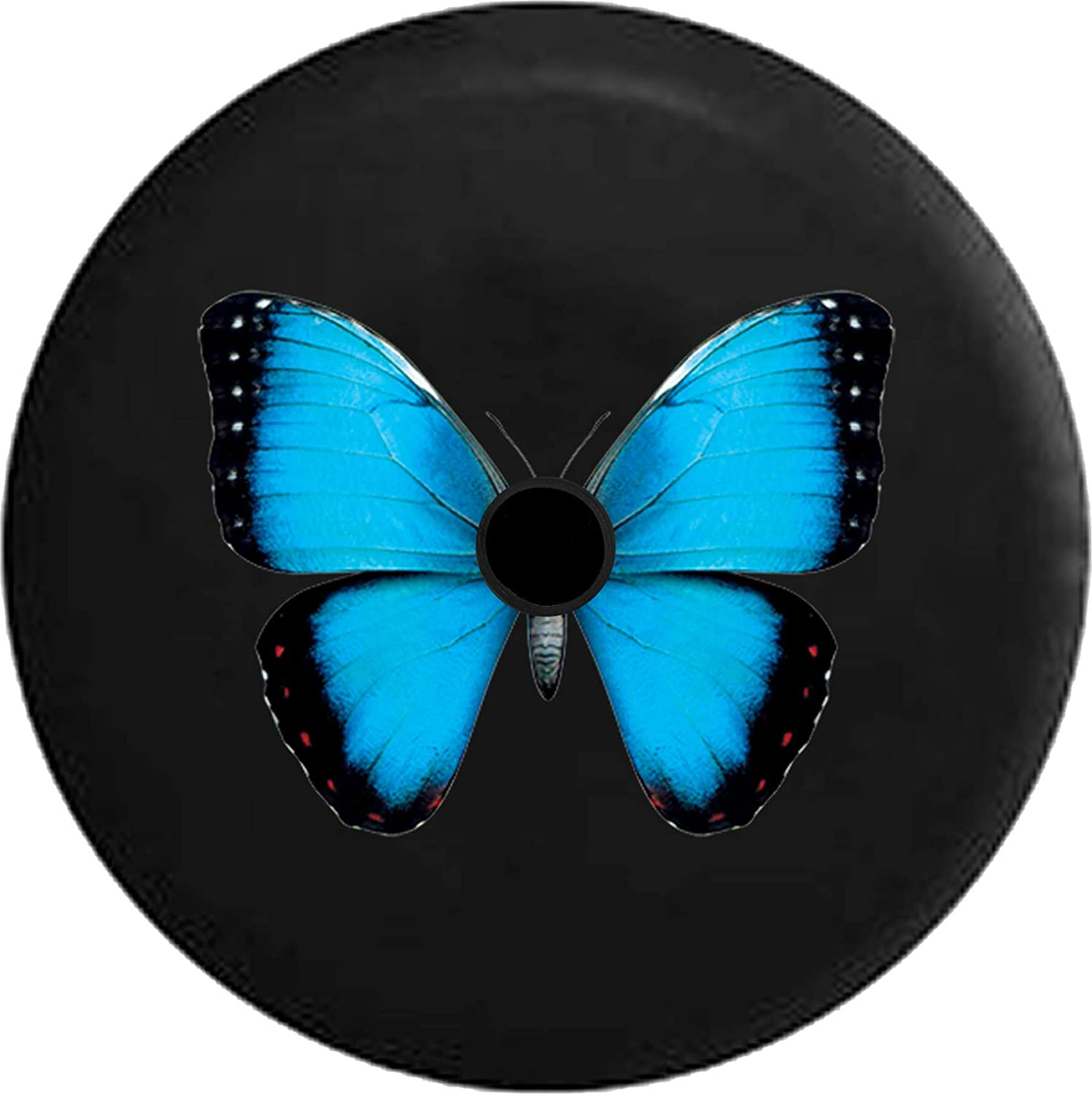 Fits: Jeep JL Accessories 2018+ JL Spare Tire Cover Blue and Black Spotted Beautiful Butterfly Spare Tire Cover with Backup Camera Hole BUC Size 33 Inch
