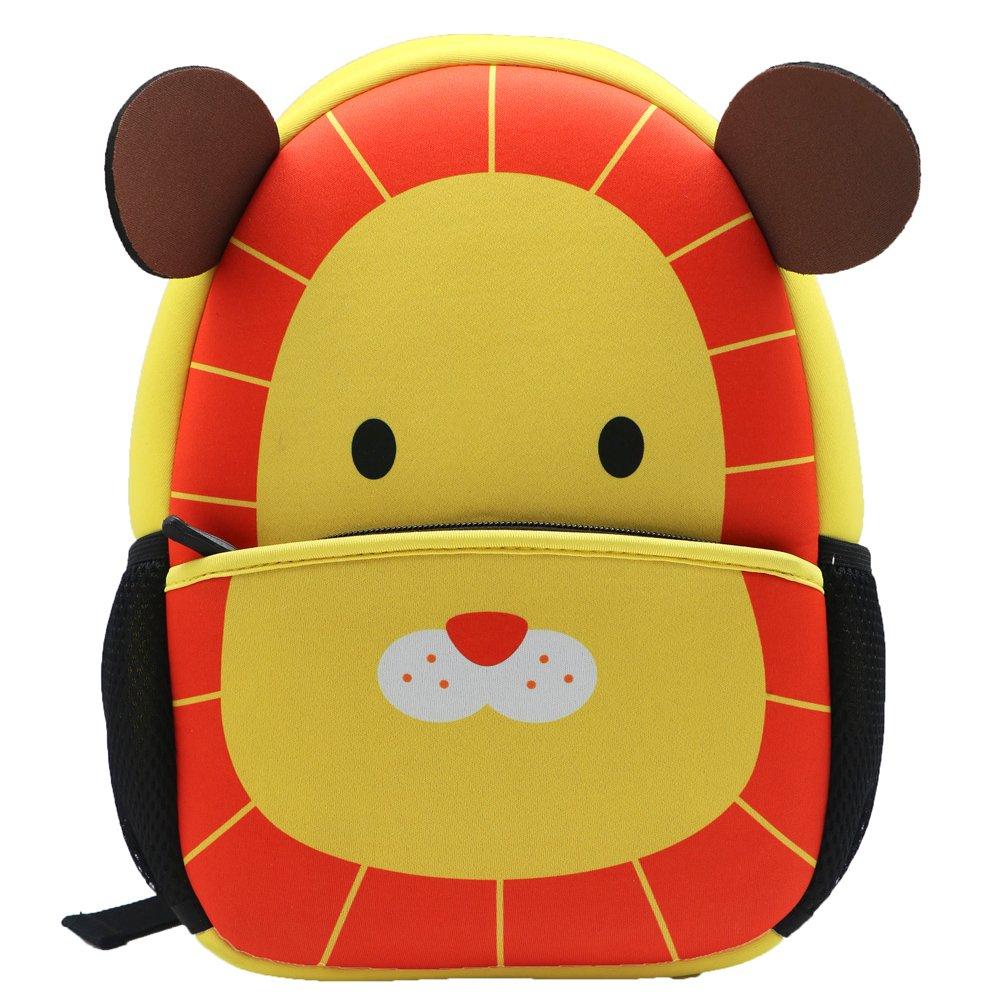 Neoprene Cartoon Animal Series Schoolbag for Little Kid Toddler Preschool Insulated Water-Resistant Lunch Bag Backpack, (lion)