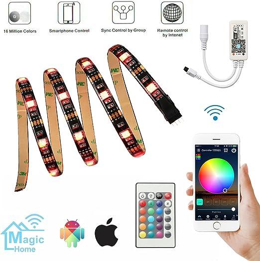 Bias Lighting, retroiluminación led para televisor compatible con Alexa, Google Home, IFTTT, WiFi, dispositivos controlados por smartphone, USB, 2 m de longitud: Amazon.es: Iluminación