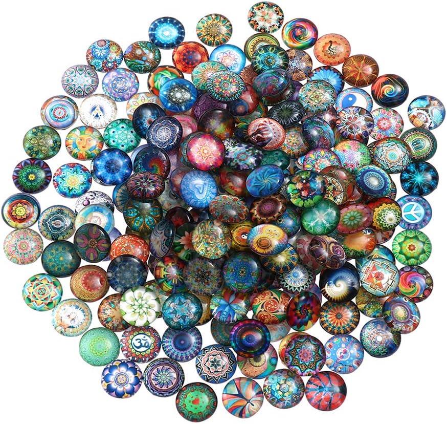 SUPVOX Cabujones óvalo de Cristal Mosaico Impreso Cabochons Mosaico Azulejos de Mosaico para Joyería Pulseras 10 mm 100 Piezas