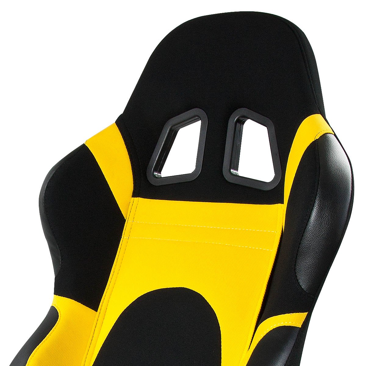 Universal Full-Reclinable Yellow Sport Racing Seat With Black Trim Right