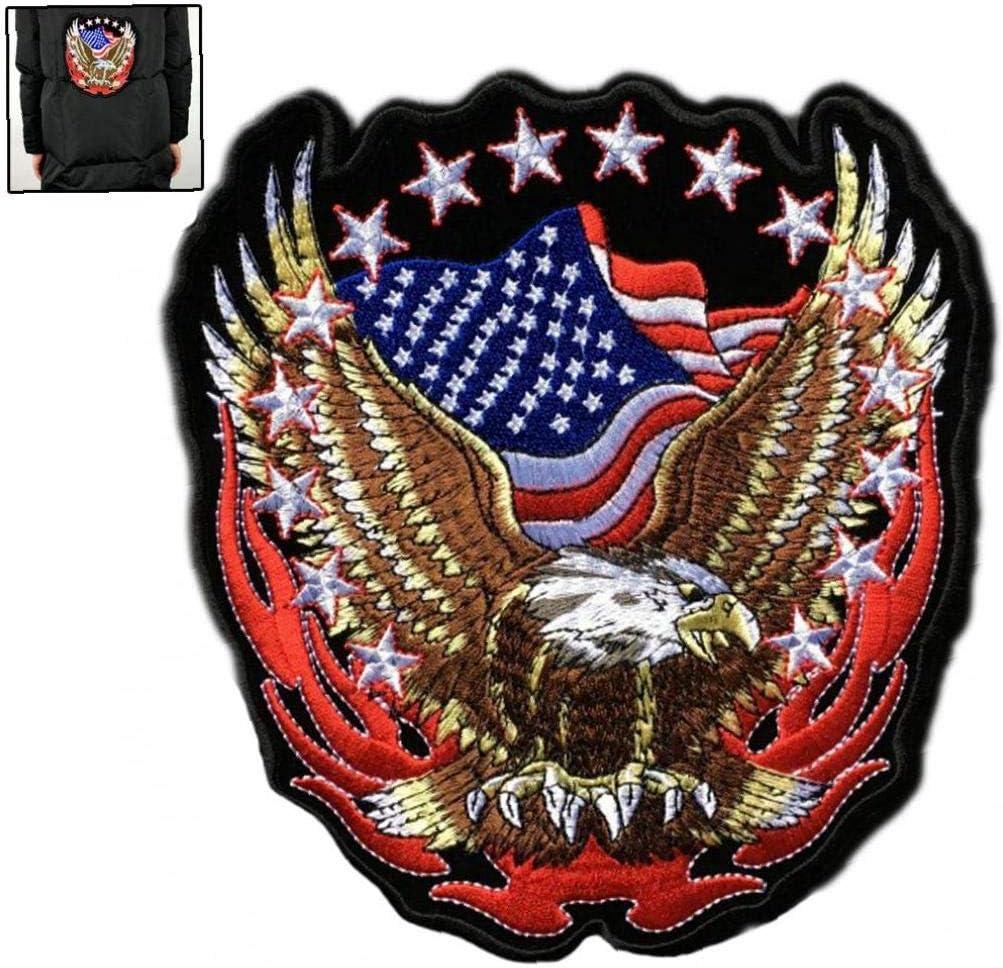 Snner EE.UU. Águila Y Bandera Pequeño Bordado De Parches para La Chaqueta del Chaleco Volver Club De La Motocicleta del Motorista: Amazon.es: Hogar