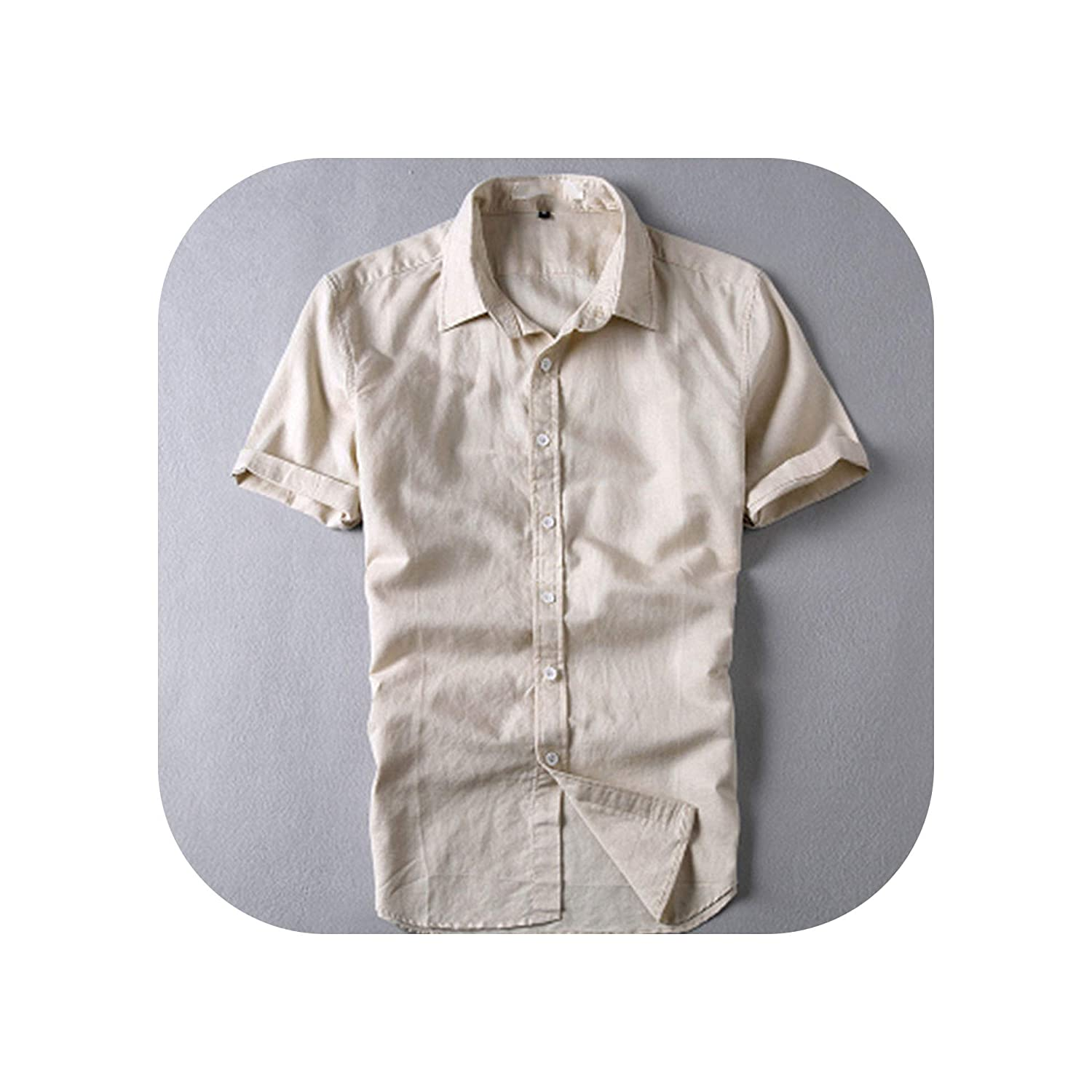 Trendy Style Linen Shirts Color Short Sleeved Slim Fit Collar Casual