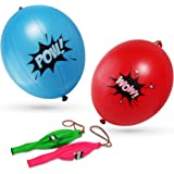 Superhero Party Supplies Girl & Boy Punch Balloons, POW! BOOM! WAM! WOW! Pink, Blue, Red, Green Decoration Birthday Party Supplies Favor– Pack of 12 Children's Comic Party Super Hero Punch Balloons
