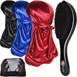 3pcs Silky Durags & 360 Wave Brush Kits for Men Best