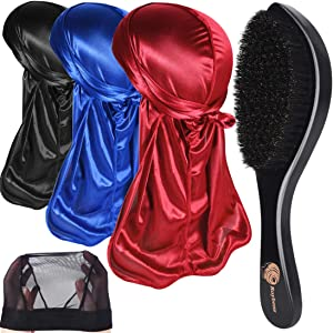 3pcs Silky Durags & 360 Wave Brush Kits for Men Best Gift, Extra 1 Wave Cap,B