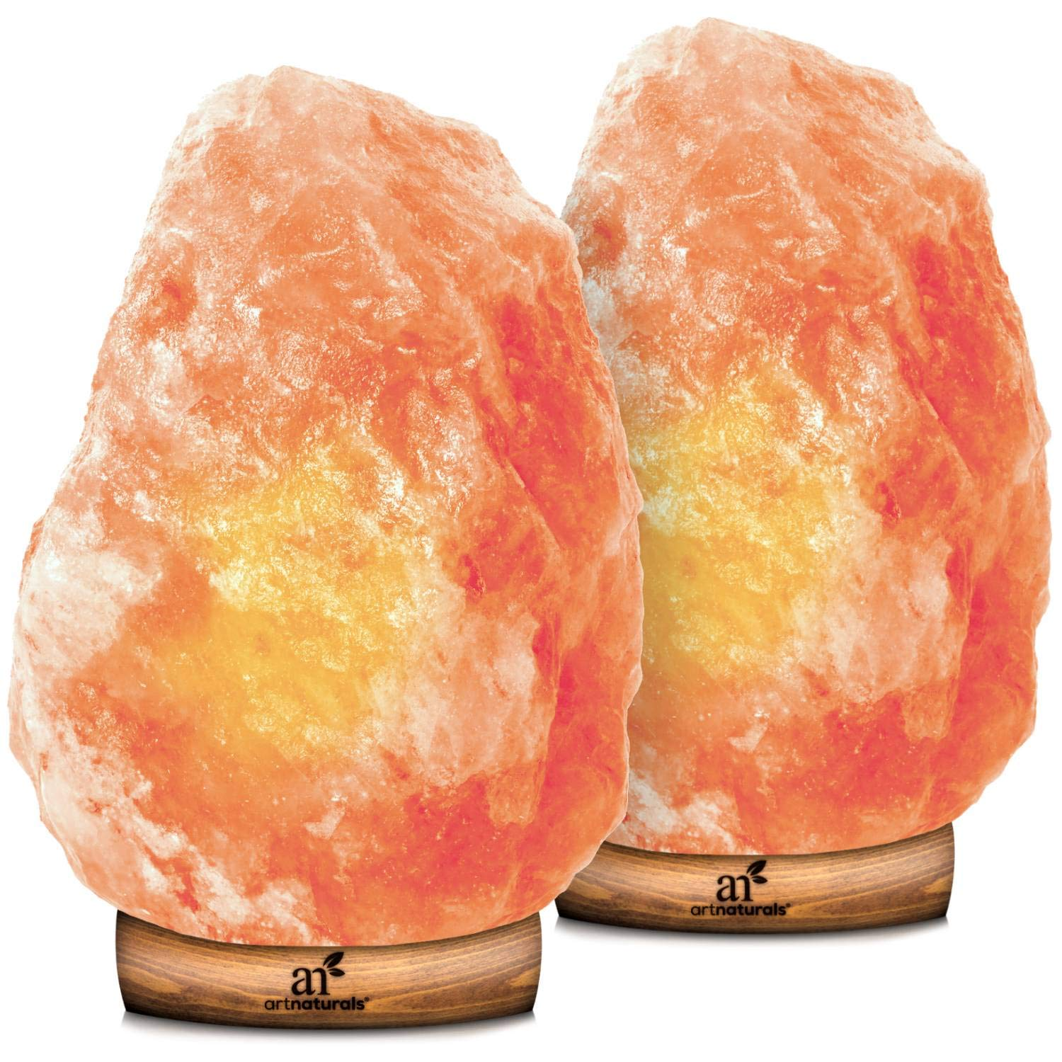 ArtNaturals Himalayan Rock Salt Lamp - Hand Carved Pink Crystal from Pure Salt in the Himalayas - for Rest, Relaxation and Energy - Real Wooden Base by ArtNaturals (Image #1)