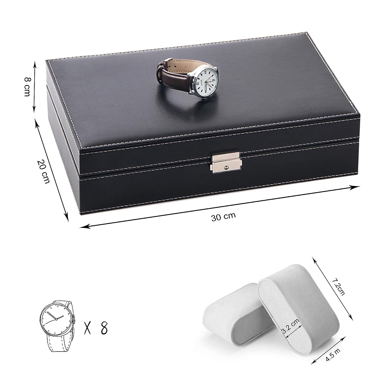 Todeco - Caja de Relojes de Joyería, Caja de Exhibición para Joyero de Relojes - Tamaño: 30 x 20 x 8 cm - Material de la caja: MDF - 8 relojes, joyas ...