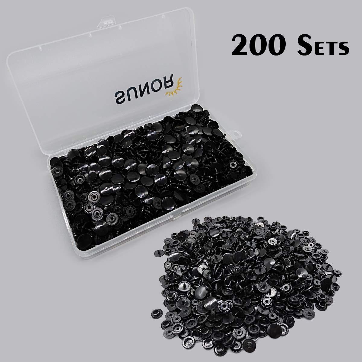 SUNOR 360 juegos de cierres de bot/ón de pl/ástico T5 Black and White Snaps 24 colores, alicates para T3, T5, T8 pl/ástico juego de alicates para todo tipo de ropa DIY