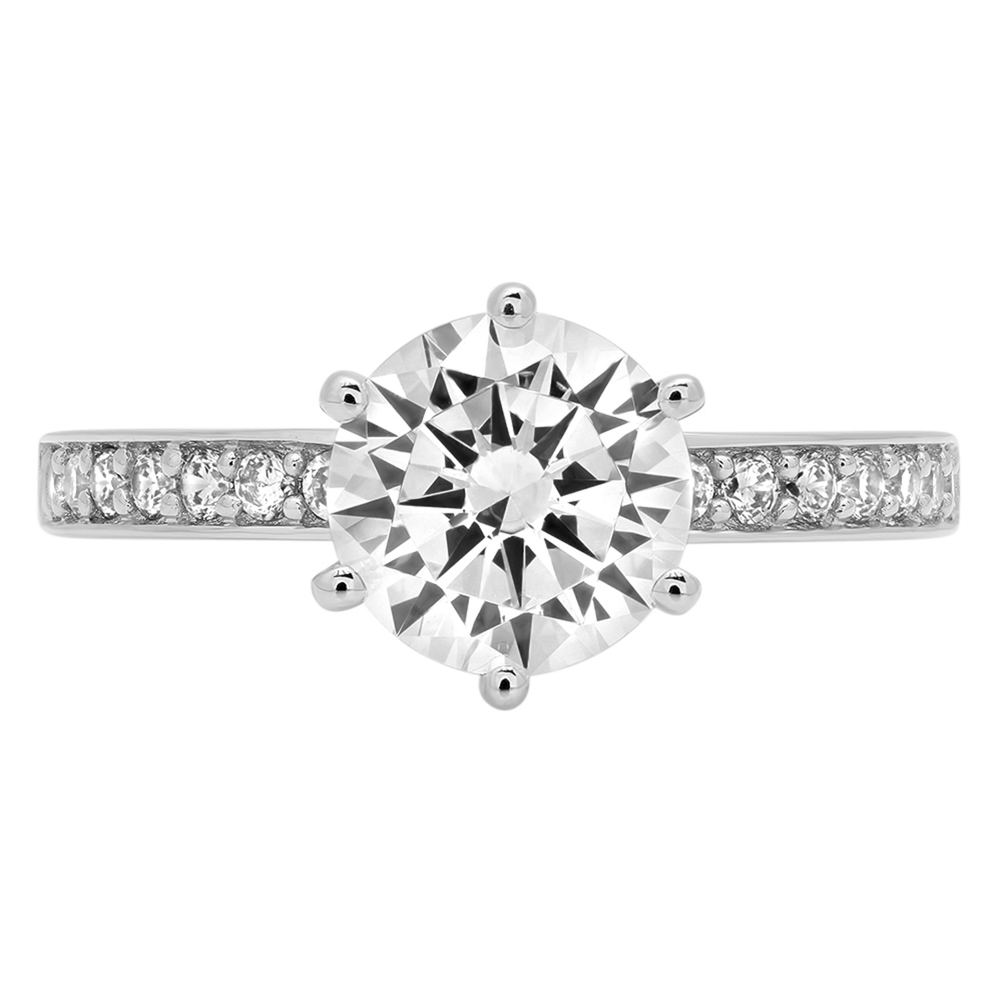1.86ct Brilliant Round Cut Designer Accent Solitaire Promise Anniversary Statement Engagement Wedding Bridal Ring For Women Solid 14k White Gold, 6.25