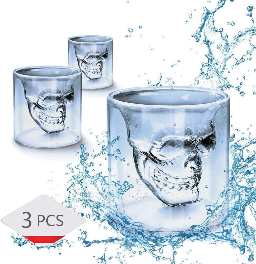WIKEA Vasos Transparentes de Pirata Calavera de Doble Capa Copa de Cerveza de cóctel (75 ml x 3 PCS)