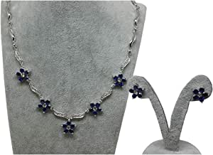 Bracelets and Earrings Set for Women, Silver and Blue