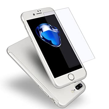 MajoCase Funda iPhone 7 Plus 360 Grados Integral Para Ambas Caras + Protector de Pantalla de Vidrio Templado,[ 360 ° ] [ Plata ] Case/Cover/Carcasa ...