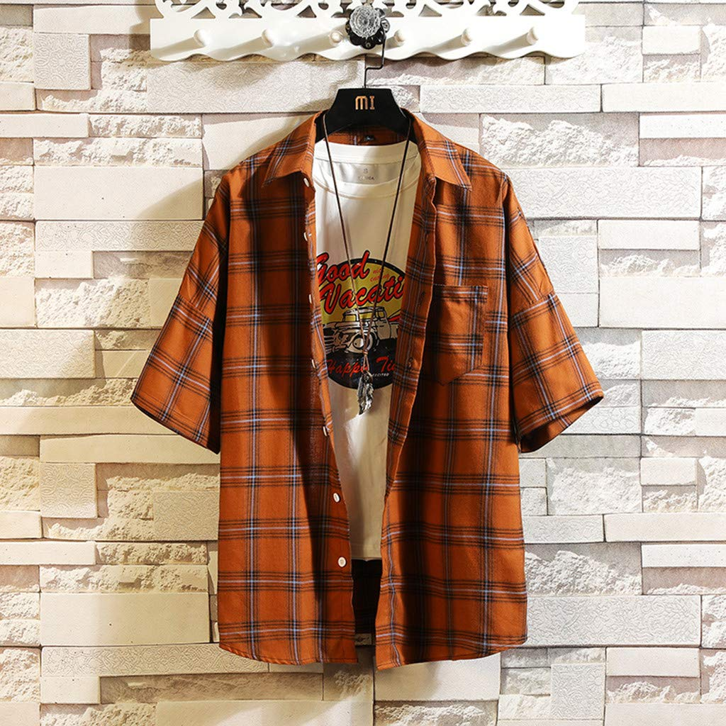 107/% Cotton Long Sleeve Shirt Regular Fitness Club Casual Bussiness Buttoned Shirt Orange chenqiu Mens Summer Casual Plaid Shirt