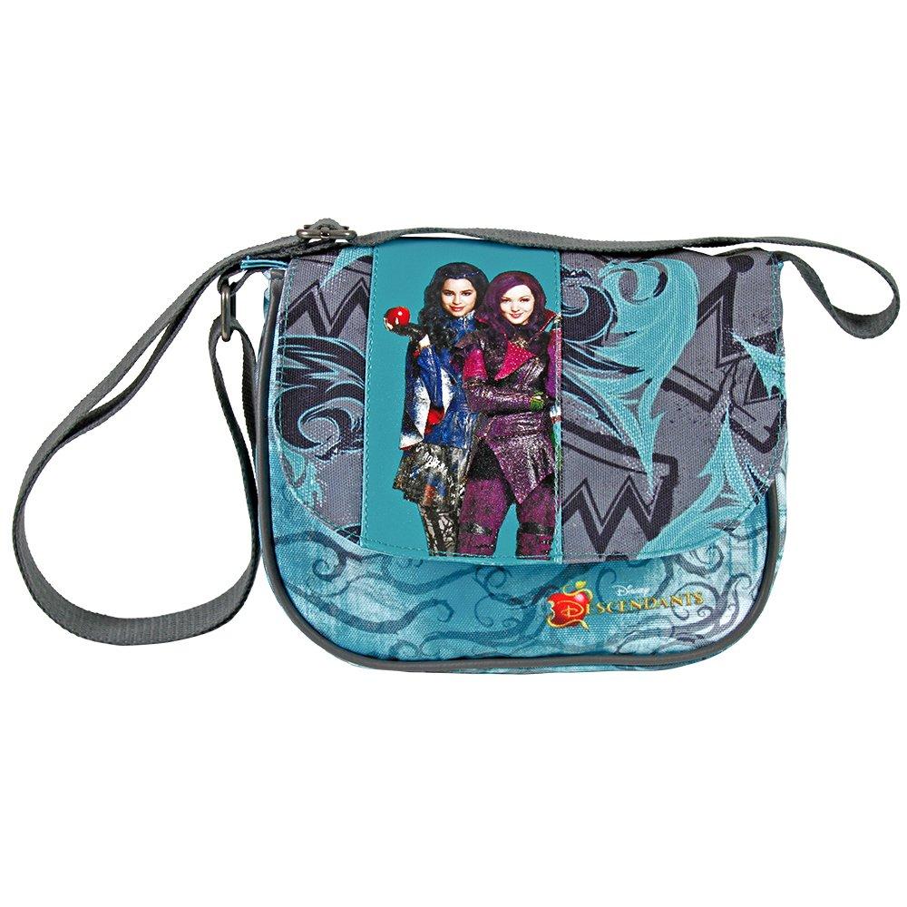 PERLETTI Bolso bandolera de ni/ña con estampado Mal y Evie de la pelicula Disney Los Descendientes Practica bolsa cruzada de viaje para chica con cierre frontal de color morado 14x15,5x4 cm