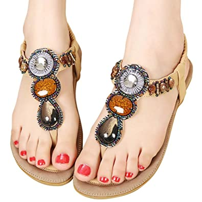 3a2b797ecdb379 Women Summer Flat Sandals Casual Vacation Beach Shoes for Women Teenagers  Girls (9.5 B(