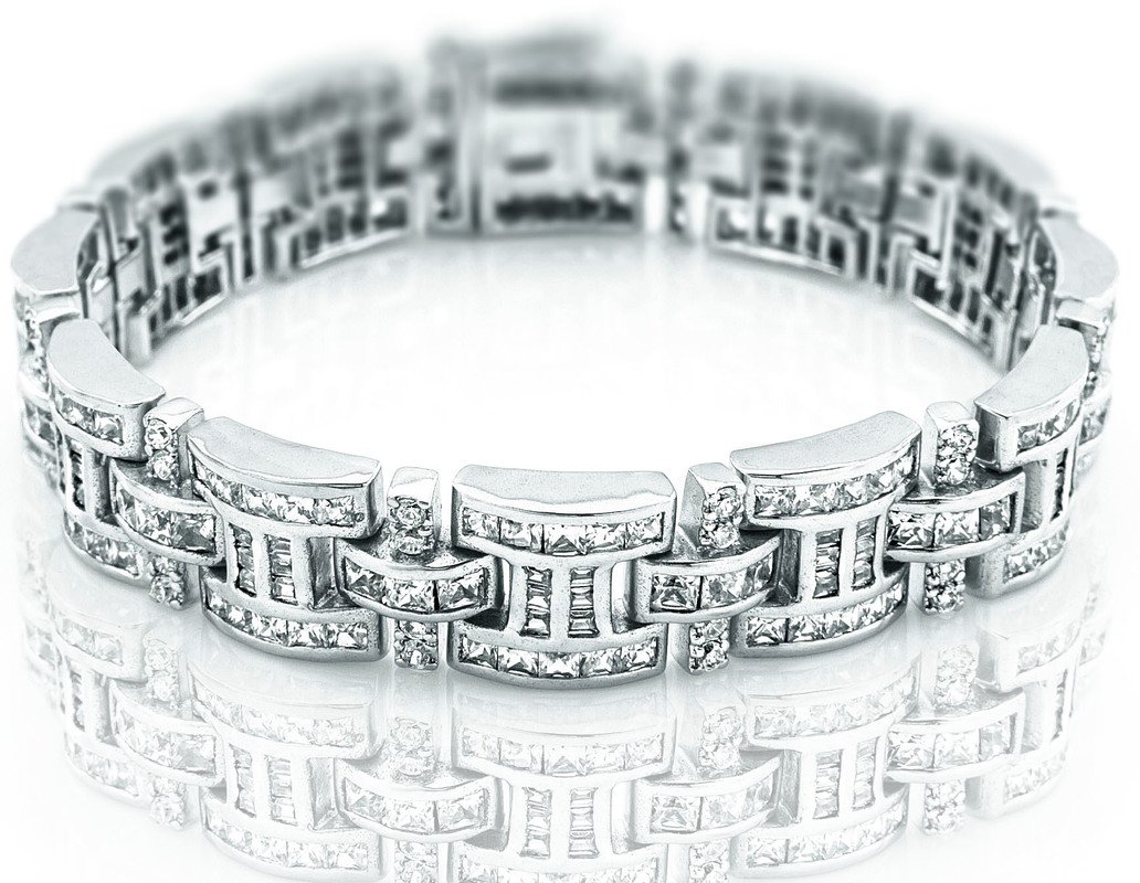 Men's Sterling Silver .925 Bracelet with 276 Channel set Fancy Princess Cubic Zirconia (CZ) Stones, Box Lock, Platinum Plated. Sizes available 8''9'' by Sterling Manufacturers (Image #1)